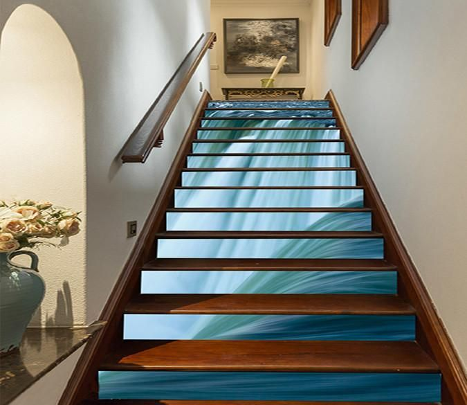 58 Cool Ideas For Decorating Stair Risers: 3D Great Waterfall 818 Stair Risers