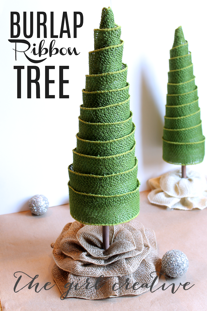 Diy burlap ribbon trees poster boards and burlap for Burlap ribbon craft ideas