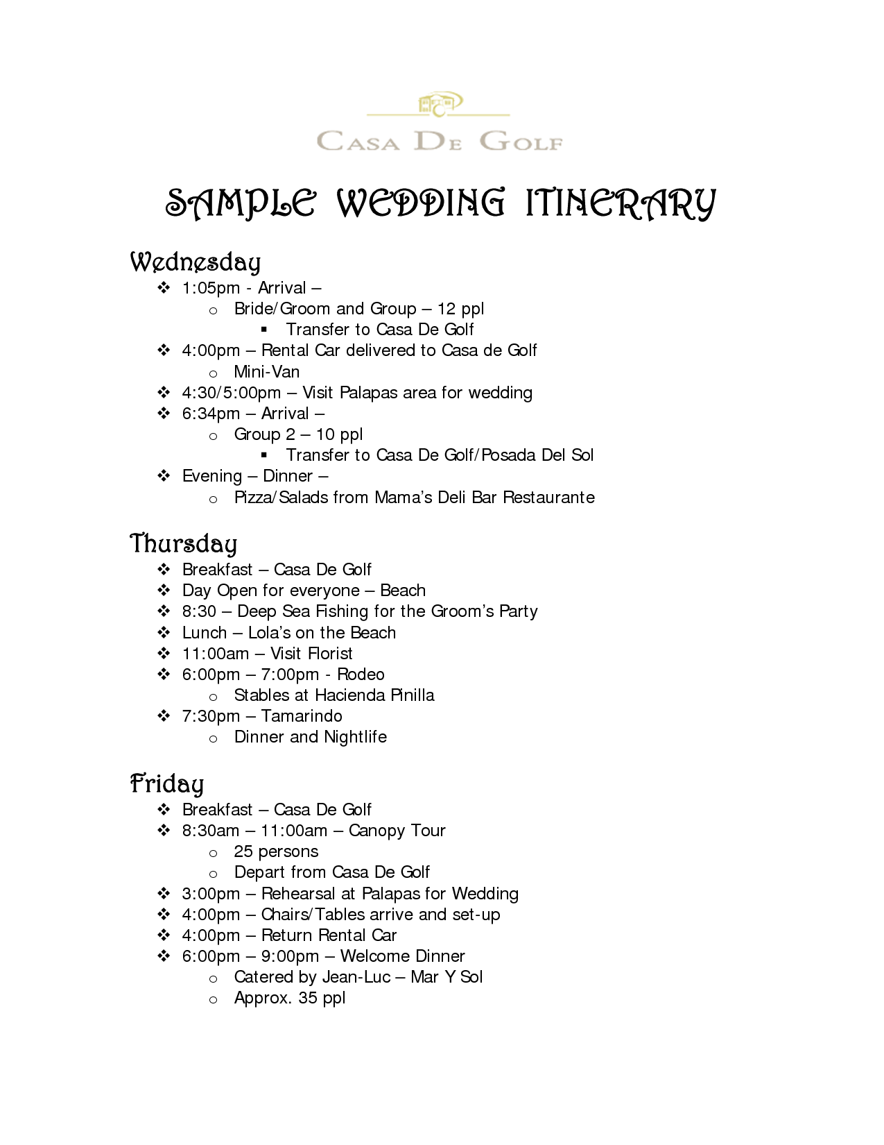 Sample Wedding Itinerary