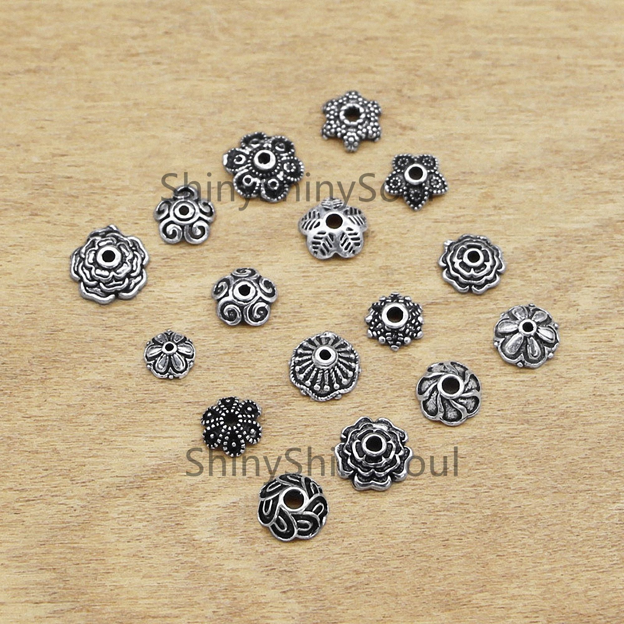 10PCS 7mm Sterling Silver Bead Caps,Silver Flower Caps,Gold Bead Caps,Bead Spacer