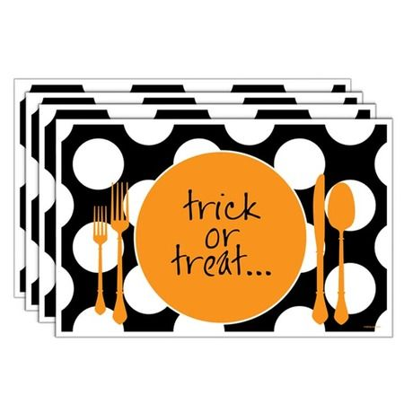 Trick Or Treat Let S Eat Placemat Set Of 4 Halloween Placemats Halloween Entertaining Halloween Home Decor
