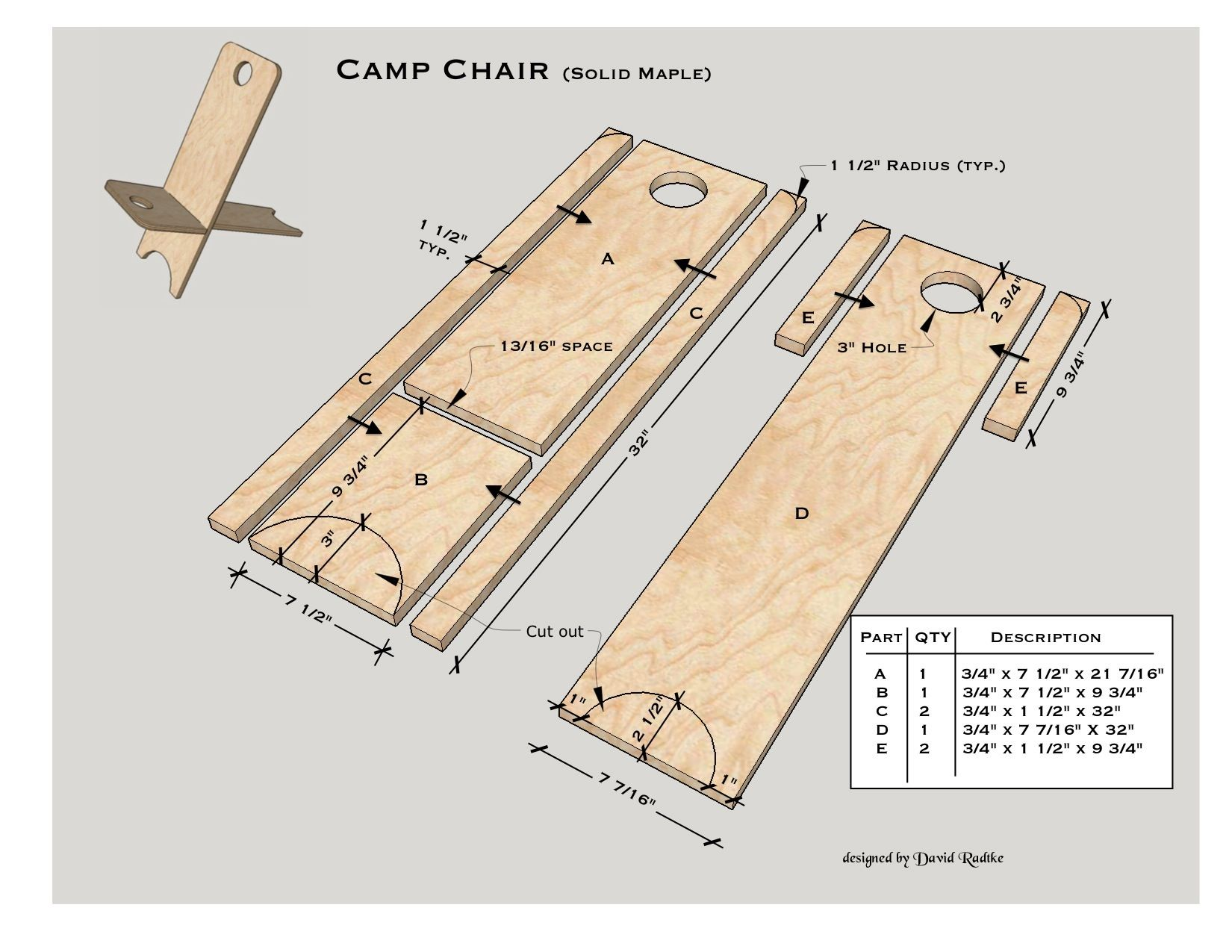 Camping Chair Glue Up Method Using Solid Maple Sca