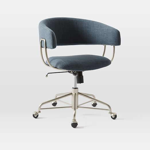Halifax Upholstered Office Chair In Regal Blue See Swatch At West Elm Store 23 5 W X 20 5 D X 31 H Upholstered Office Chair Office Chair Office Chair Design