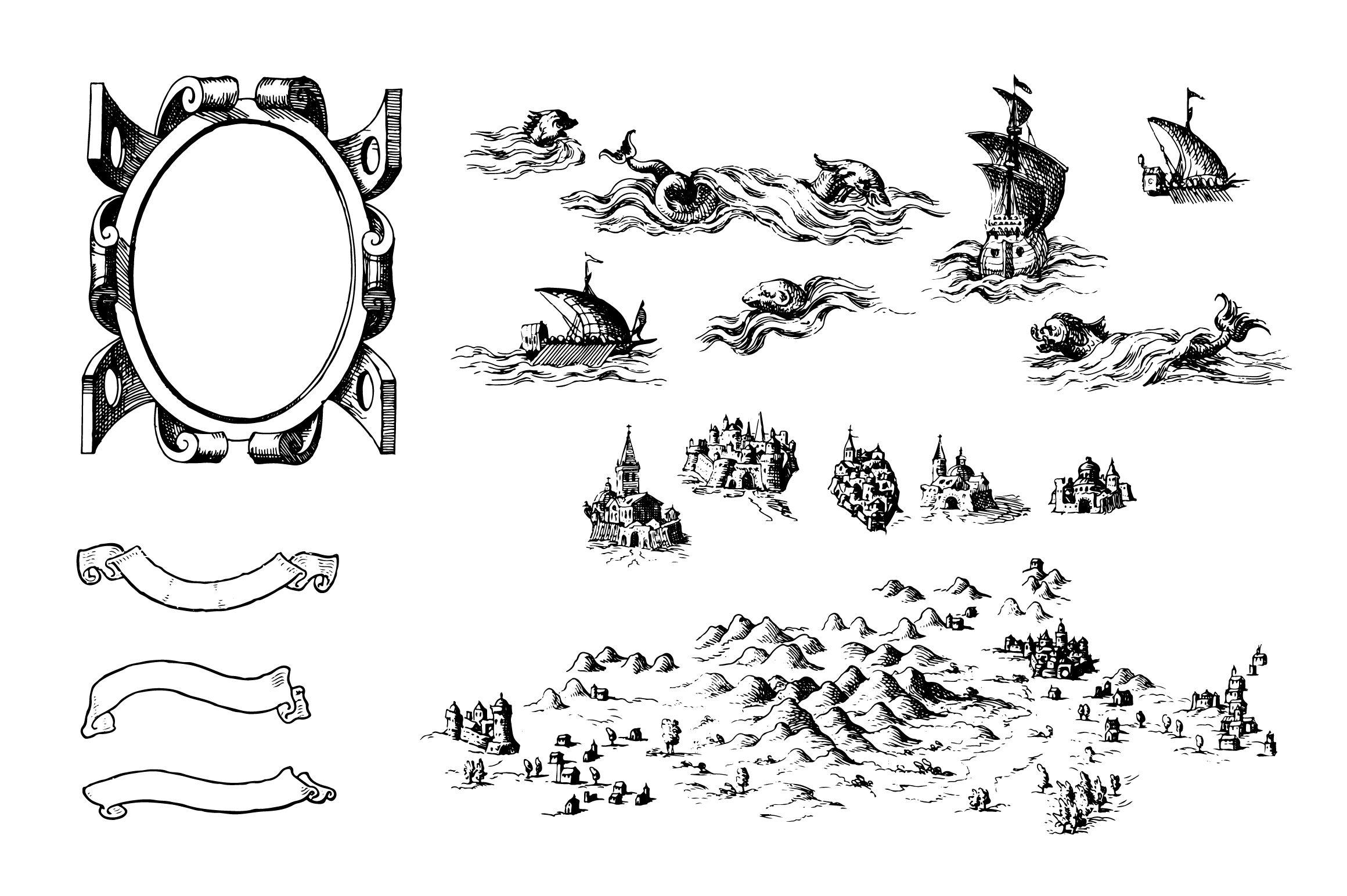 Fantasy Map Symbol Set 3 Illustrator Png Fantasy Map Symbols Map Symbols Fantasy Map Map