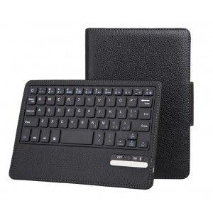 PU Leather Detachable Bluetooth Keyboard Foilo Case for iPad Mini - Black