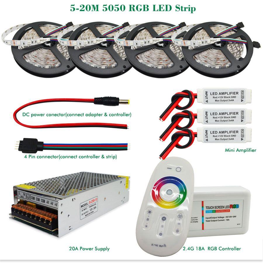 5M RGB 5050 Non Wasserdicht LED Streifen Licht SMD 44 Key Remote 12V Power DE