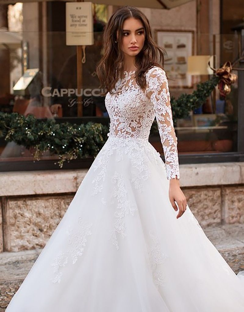 Wedding Dress Long Sleeves Vestidos de novia Illusion Lace Appliqued A Line Bridal Gown Buttons Back Wedding Gowns