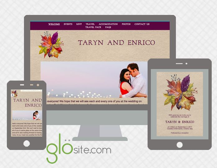 fall autumn wedding website email invitation designs Wedding