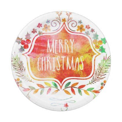 Watercolor Retro Merry Christmas Paper Plate - retro kitchen gifts vintage custom diy cyo personalize  sc 1 st  Pinterest & Watercolor Retro Merry Christmas Paper Plate - retro kitchen gifts ...