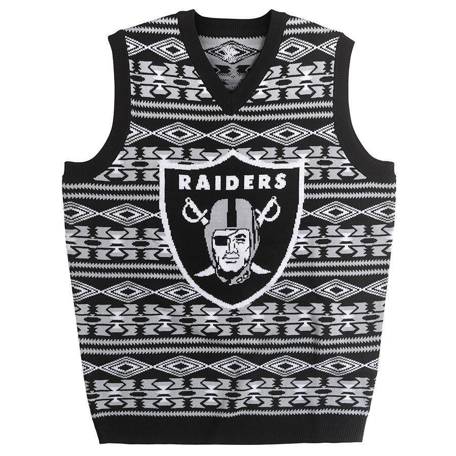 Oakland Raiders Aztec Print Ugly Sweater Vest from UglyTeams ...