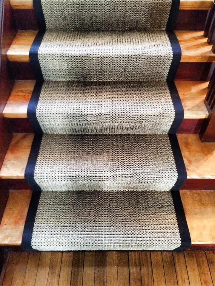 This Sisal Rug Was Custom Fabricated With Black Binding To Make A Very Sharp Stair Runner In Worcester Ma Sisal Custom Area Rugs Carpet Sale Stair Runner