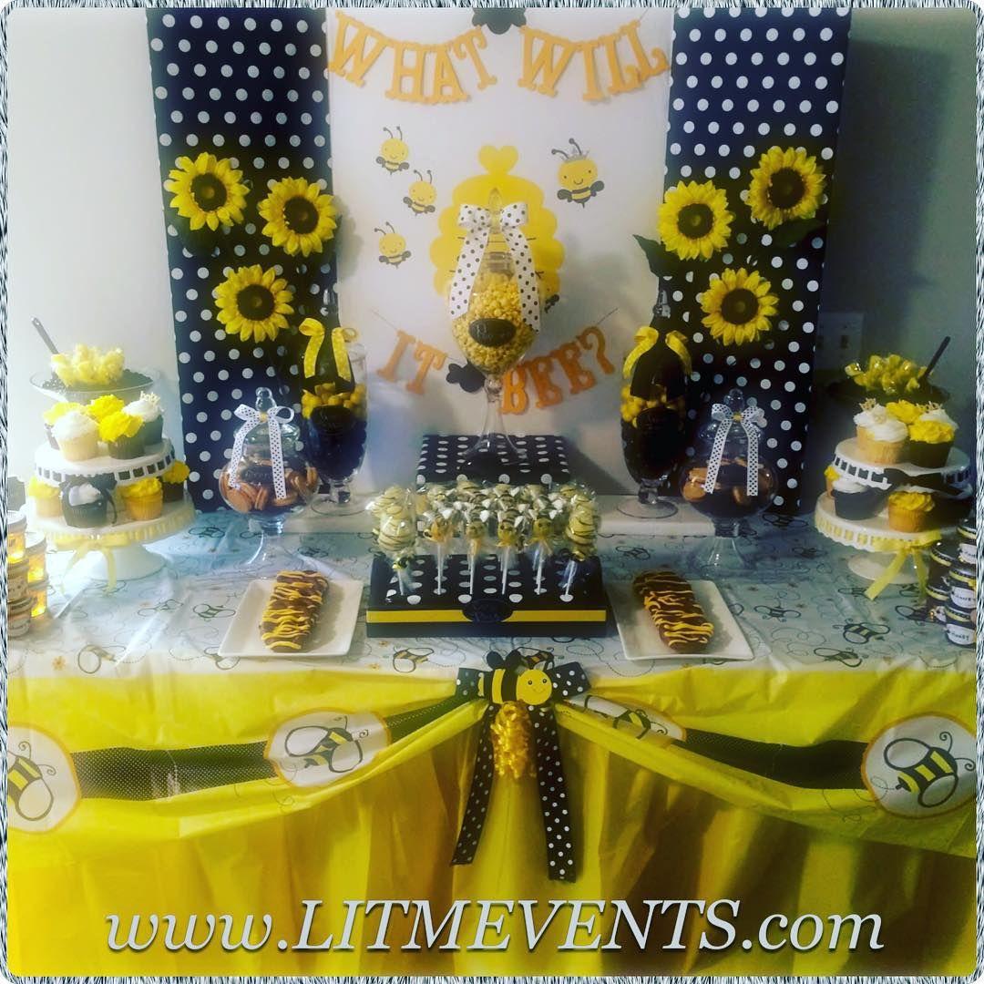 Yasmeen Johnson On Instagram Genderreveal Genderrevealparty Whatwillitbee Boyorgirl Bowtieortutu B Baby Reveal Party Bee Themed Gender Reveal Bee Party