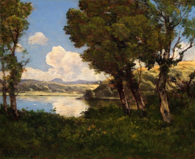 Summer Day in the Countryside. Summer Themed Oil Paintings, Henri Harpignies. Au Bord Du Lac