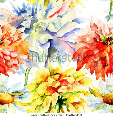 Watercolor illustration with beautiful chrysanthemum flowers, seamless wallpaper by Regina Jershova, via Shutterstock