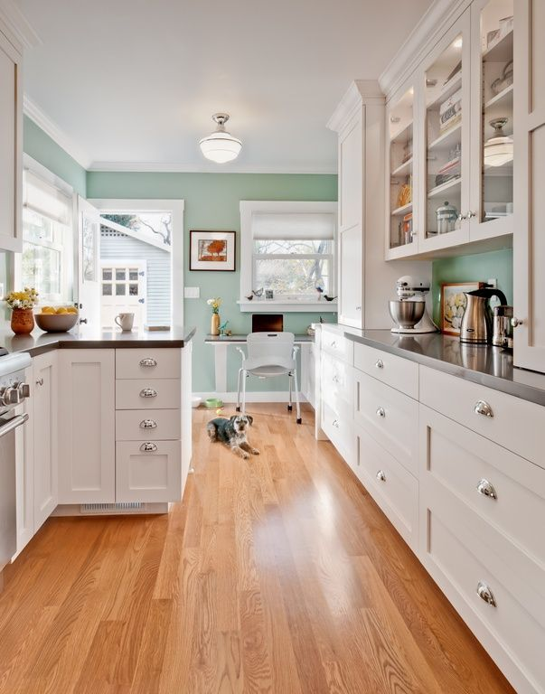 Traditional Kitchen With Glass Door Cabinets, Paint
