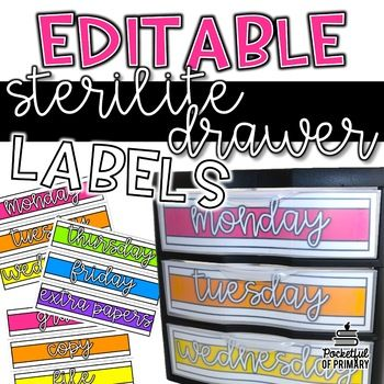 These EDITABLE Sterilite Drawer Labels Are Perfect For Organizing All Your Copies The Week Or Any Other Papers You Have In Classroom