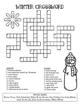 Winter Crossword Puzzle Word Puzzles For Kids Crossword Puzzle Crossword
