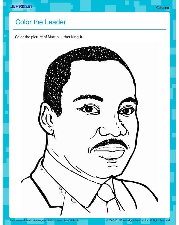 Color The Leader Free Martin Luther King Jr Worksheet Martin