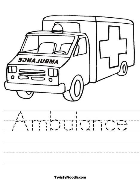 Ambulance Worksheet Ambulance Craft Handwriting Sheets Ambulance