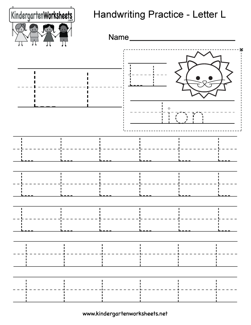 Kindergarten Letter L Writing Practice Worksheet Printable | Harfler ...