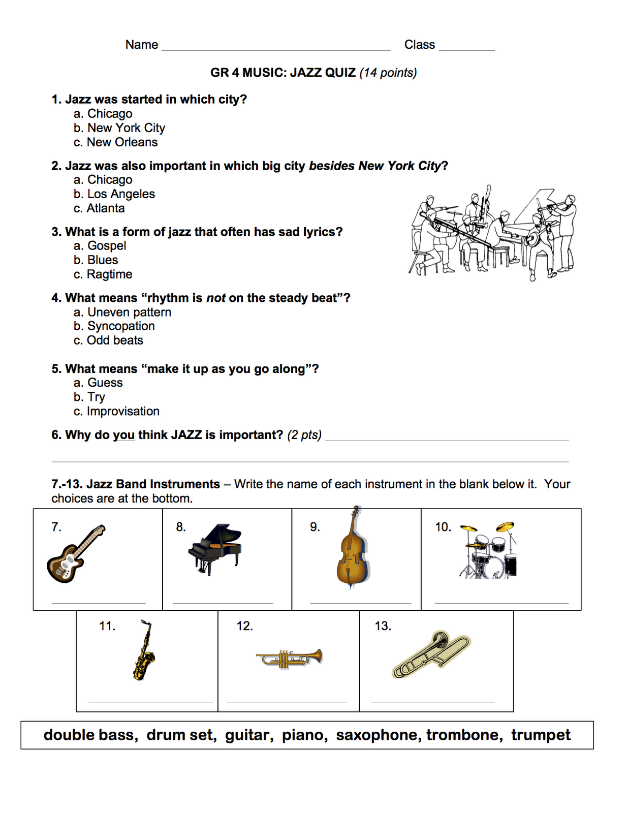 Jazz Quiz | Music K-5 | Pinterest