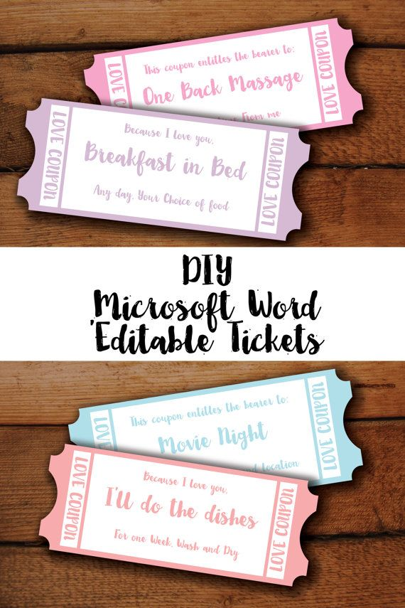 Valentine Gift Printable Love Coupons\/ Tickets in Candy Heart - microsoft word coupon