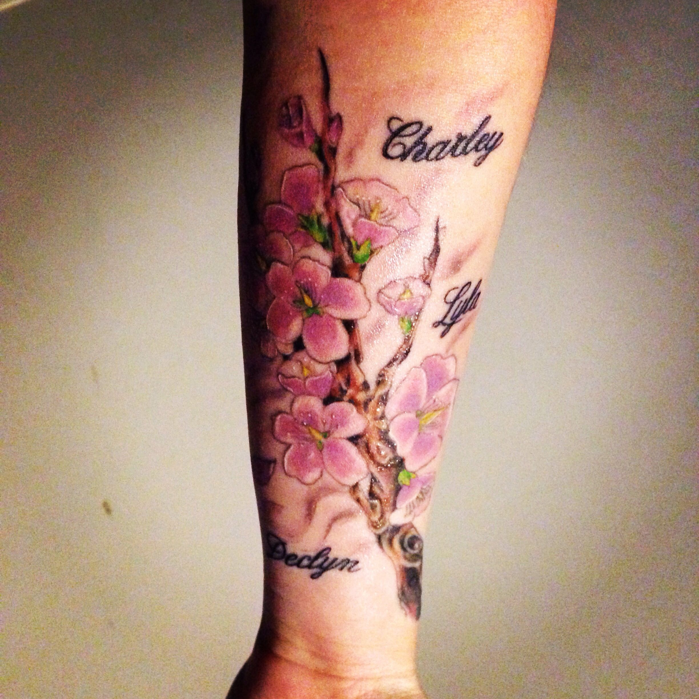 Cherry Blossom Branch With Kids Names | Tattoos