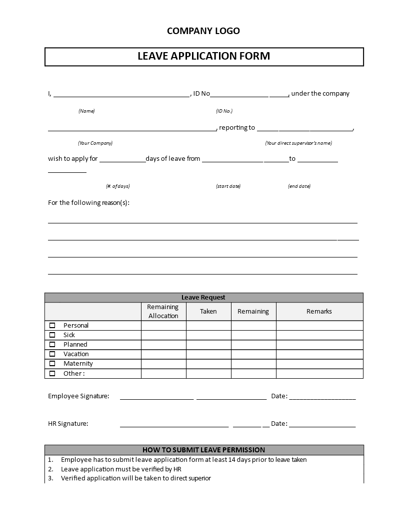 Leave Application Form Template  Are You Looking For A Leave