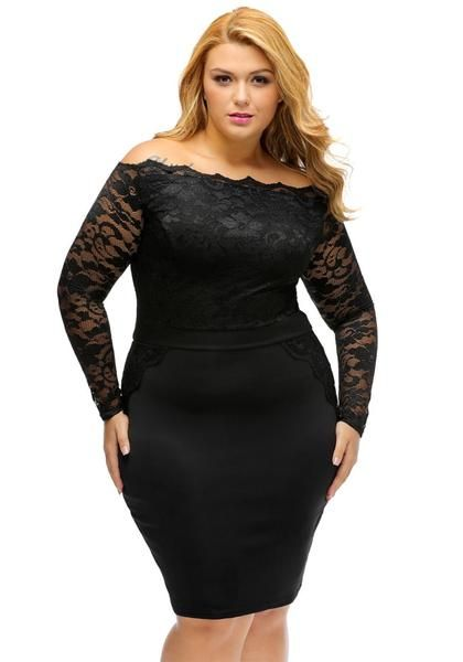 2e2f9b4fe1c Achieve your most flattering look with this plus size black off-shoulder  lace dress.