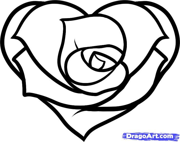How To Draw A Heart Rose, Rose Heart, Step By Step