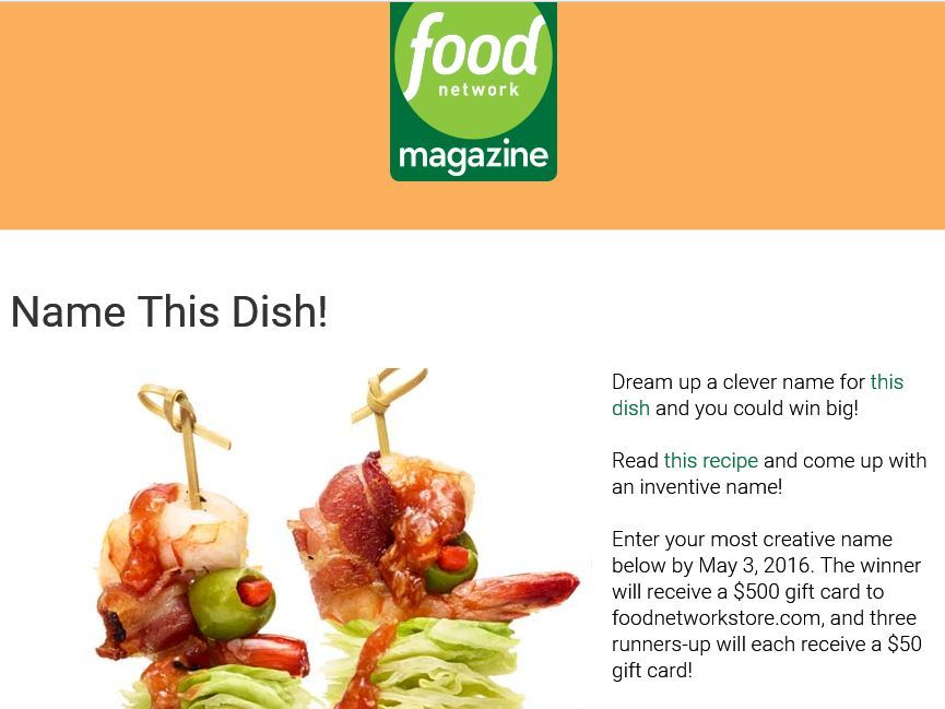 Enter the food network magazine name this dish contest for a chance food enter the food network magazine name this dish contest forumfinder Images