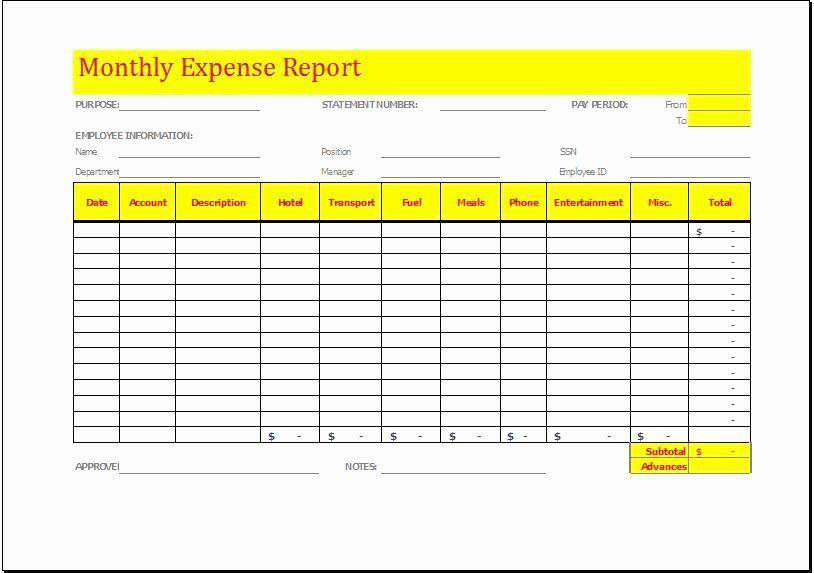Simple Expense Report Template Beautiful Monthly Expense Report Template Download At In 2021 Monthly Expense Report Template Report Templates