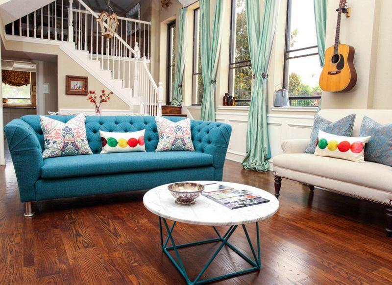 12 Superbes Idees Deco Avec Un Canape Bleu Dans Le Salon