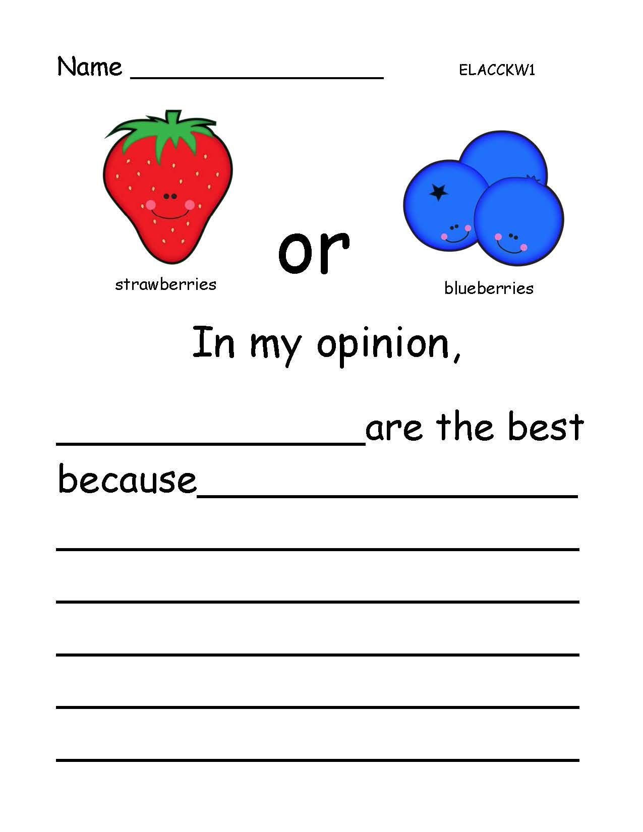 Opinion Writing Favorite Fruits