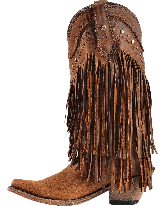 8ab8d74cbf9 Liberty Black Womens Vegas Fringe Boot Pointed Toe Buckskin 7.5 M US ...