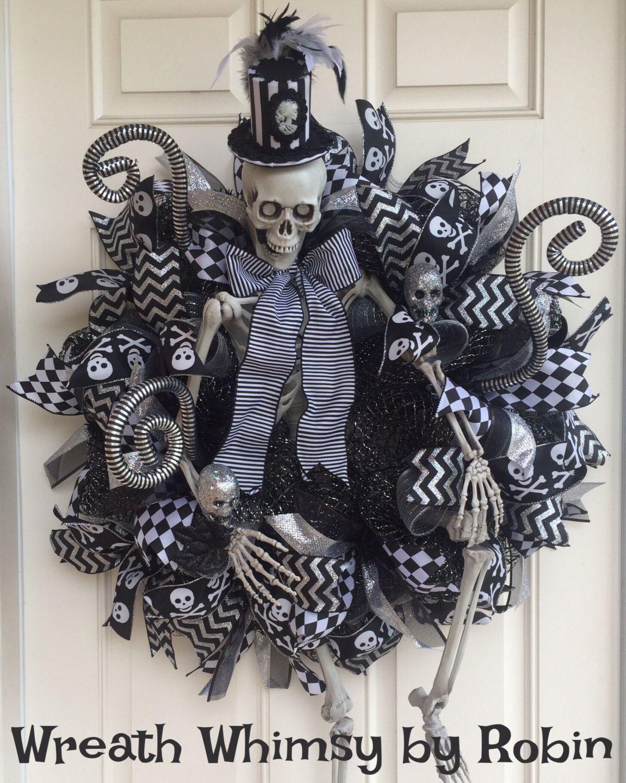 deco mesh halloween skeleton wreath large skeleton fall wreath halloween decor victorian skeleton wreath - Victorian Halloween Decorations
