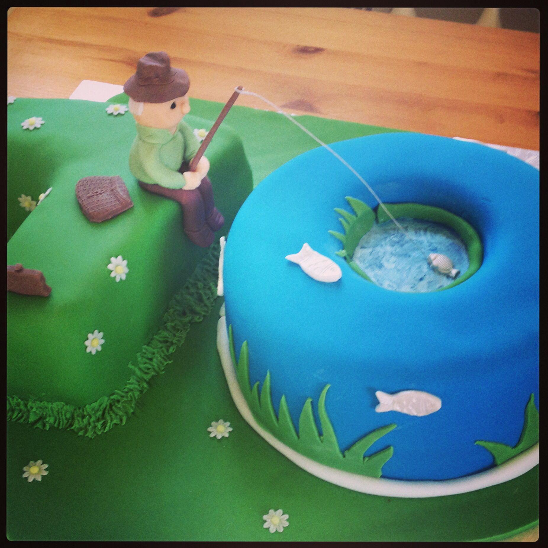 70th fishing birthday cake birthday party verjaardag for Fishing birthday cake