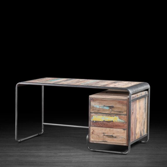 Modern Three Drawer Computer Desk Made Of Metal And