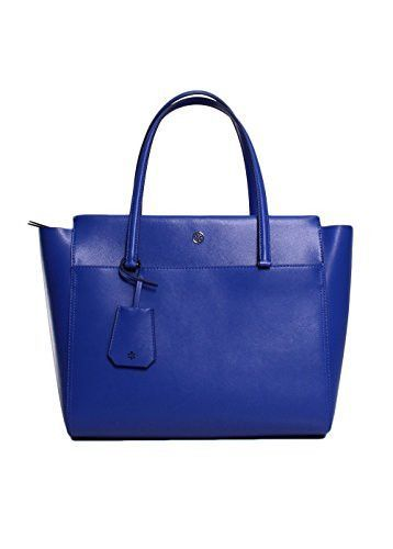 Tory Burch Parker Leather Tote Handbag In Songbird Royal Navy