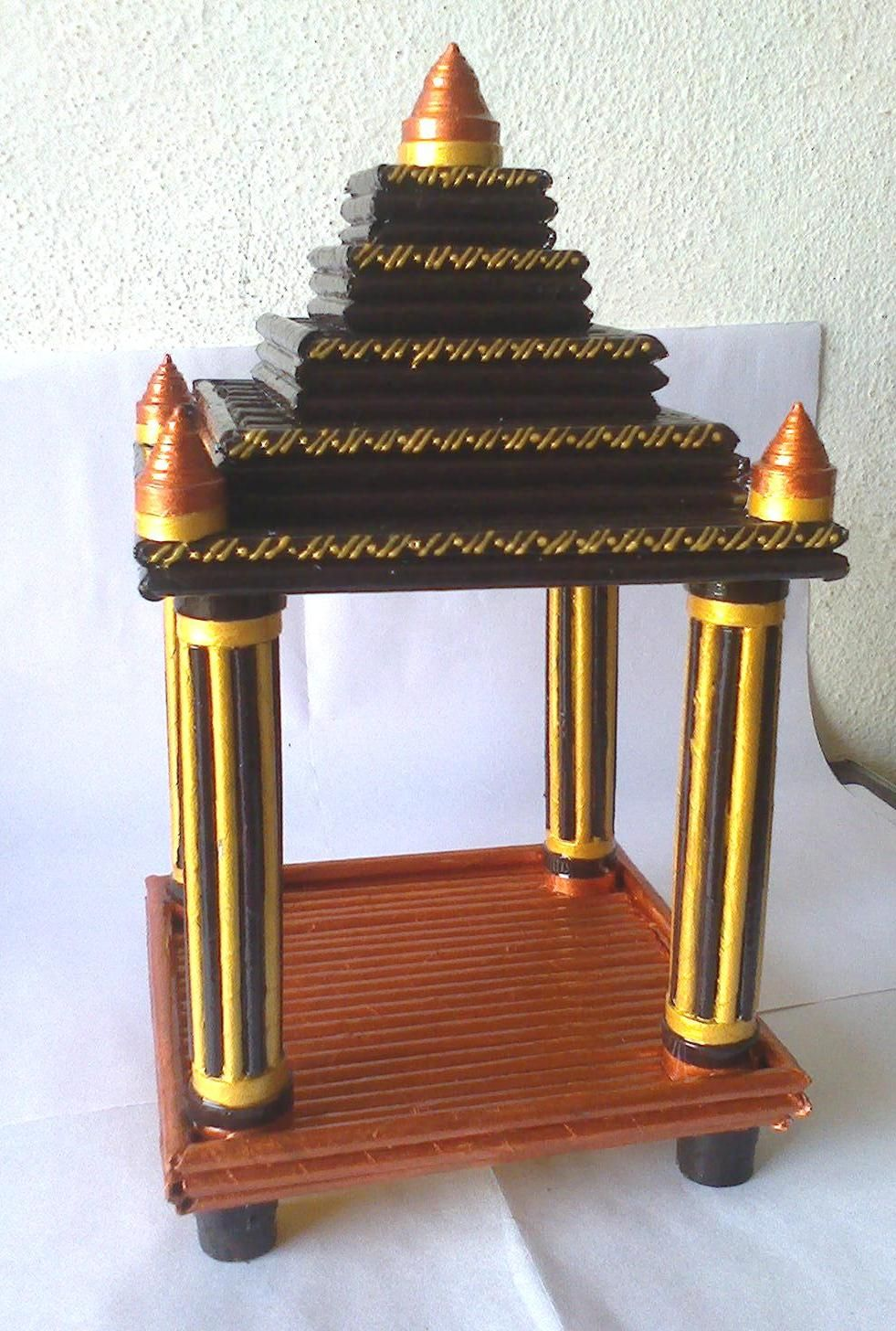 this mandir is made with news papers handicrafts handmade paper