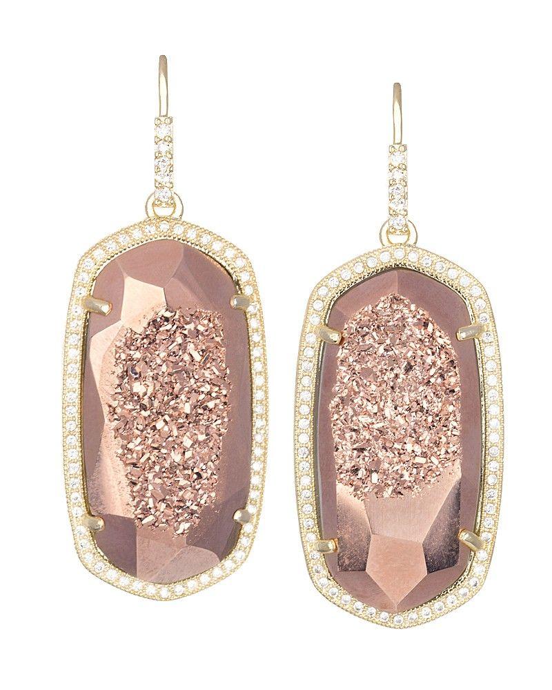 Ellen Drop Earrings In Rose Gold Drusy Kendra Scott