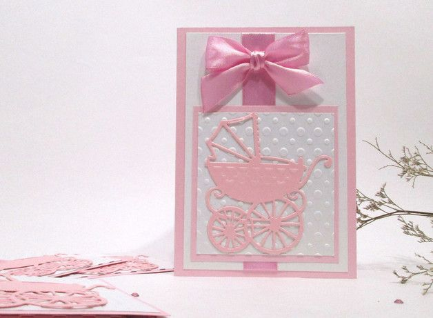 This card is perfect for a welcoming a baby girl into the world. It would also be perfect if you are attending a baby shower. Size -A6 Double Folded card. Dimensional 3D - Baby...