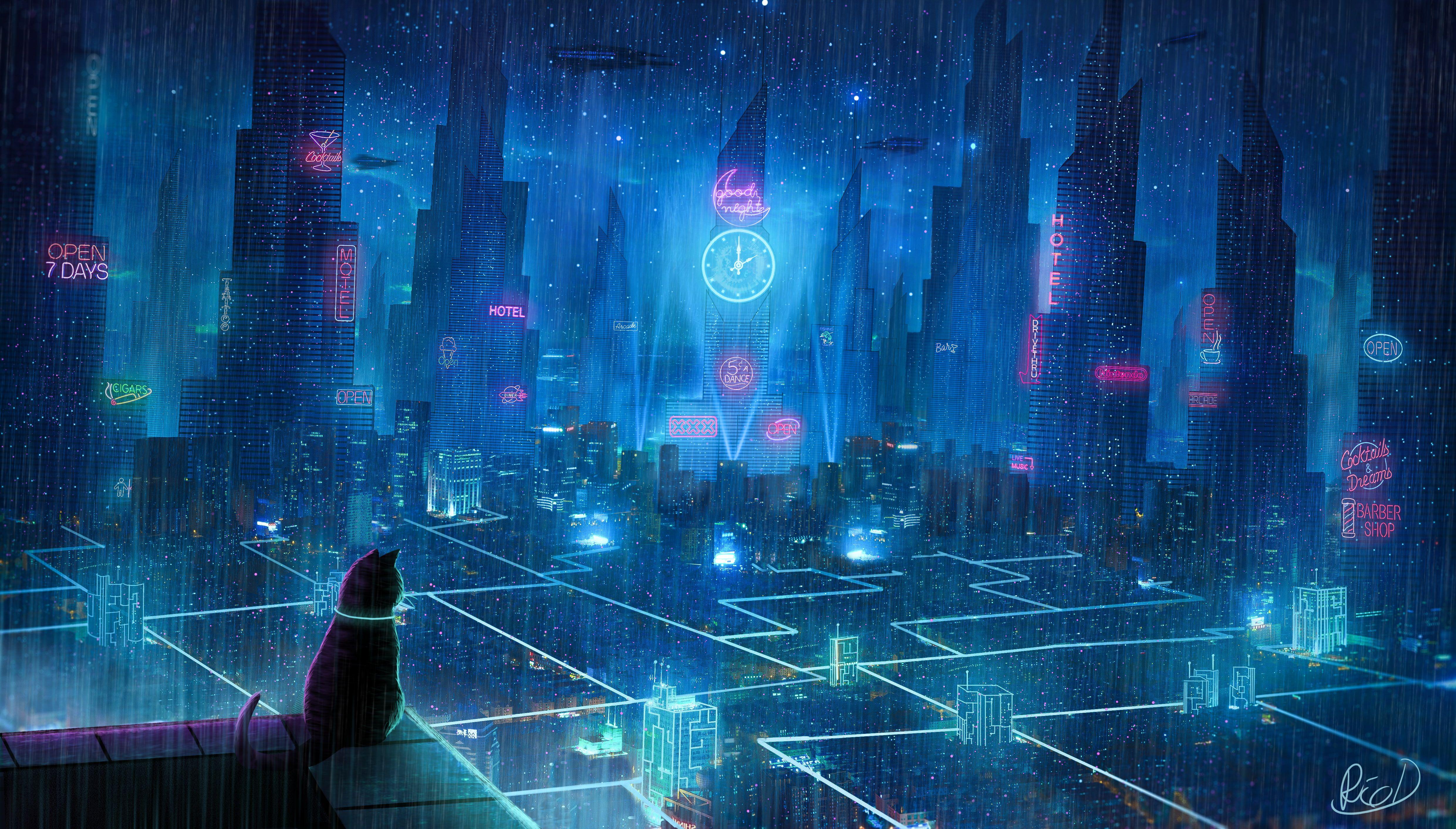 Cat Roof City Neon Lights Metropolis Future Cyberpunk 4k Wallpaper Hdwallpaper Desktop In 2021 Cyberpunk City Rain Wallpapers Cyberpunk