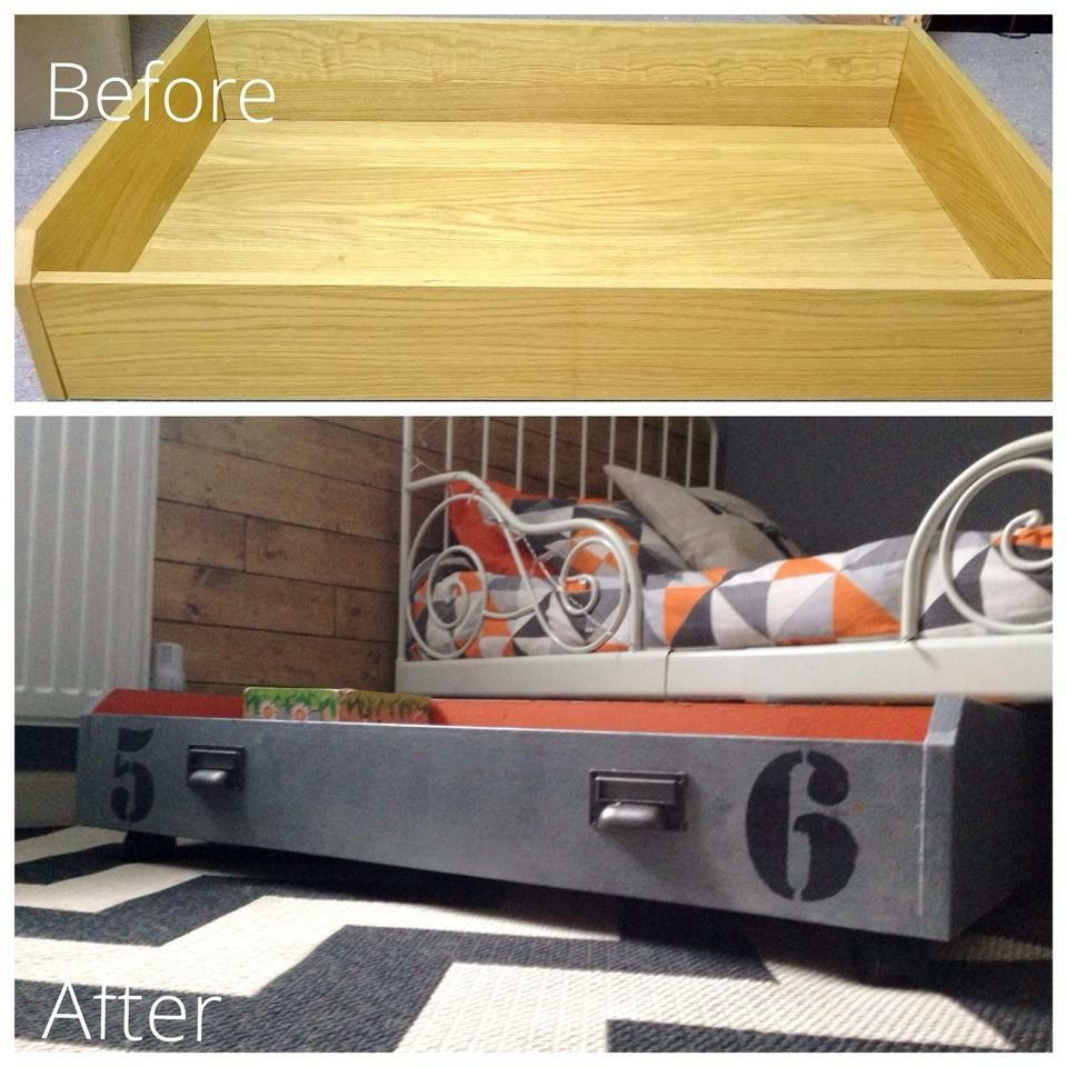 Under bed toy storage box on wheels. Could also use for bed linens ...