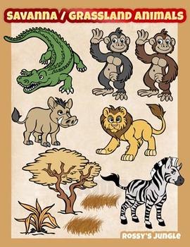 Savanna or grassland animals clipart set food chains savanna or grassland animals clipart set voltagebd Choice Image