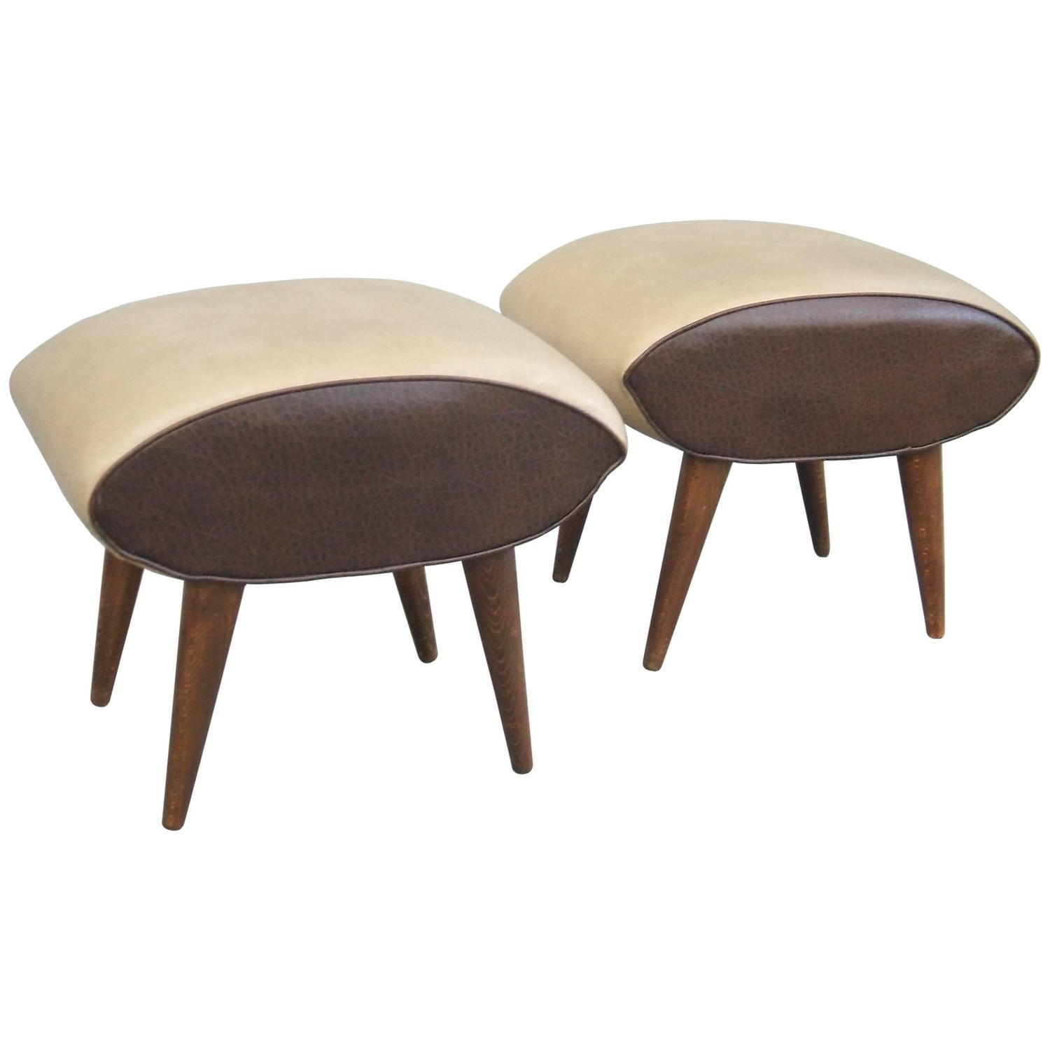 Wonderful Pair Of Leather Stools In The Manner Of Mollino Leather Stool Stool Leather