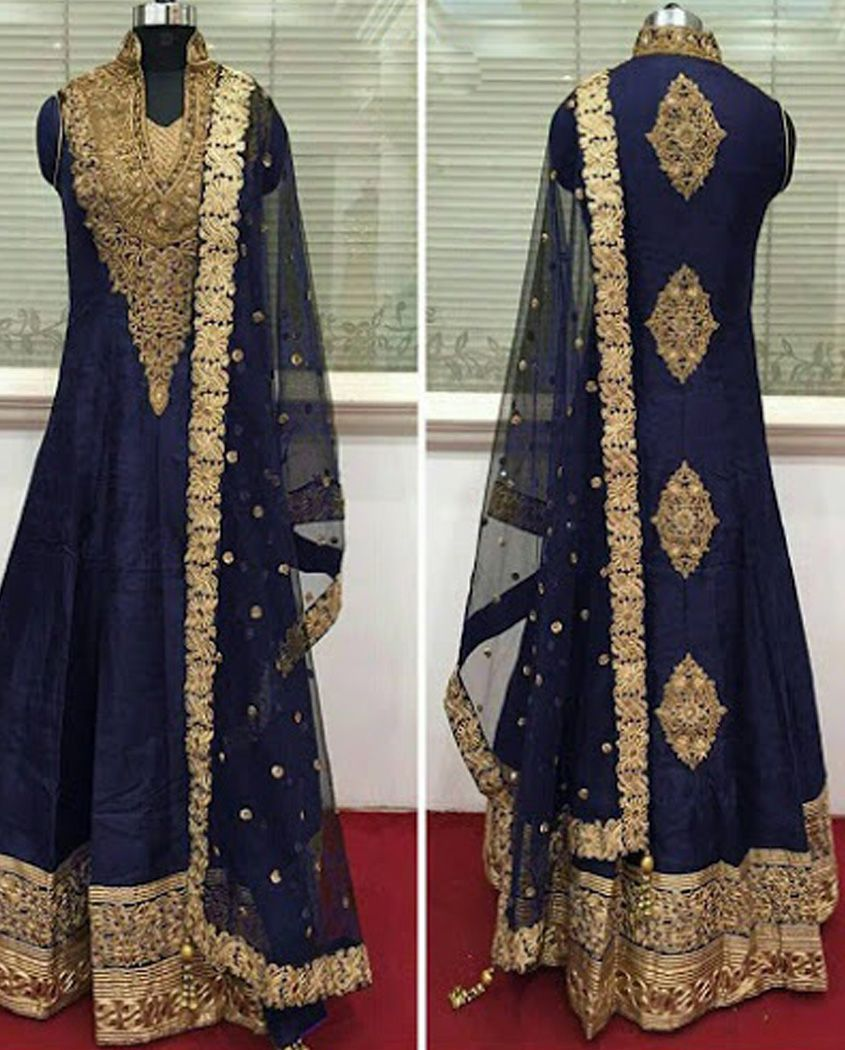 ddd46cbf9f5d Dark Blue raw silk long anarkali suit 2. Highlighted with golden embroidere  3. Shantoon churidar pants with net embroidered dupatta 4.