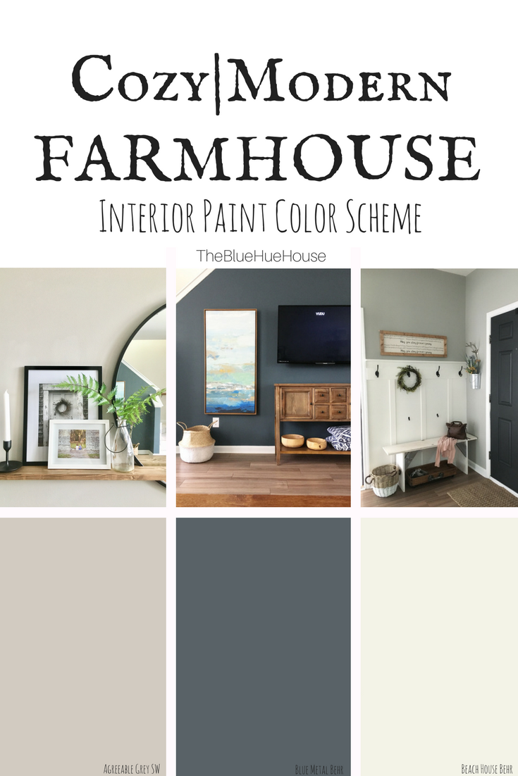 A cozy modern farmhouse color scheme the blue hue house