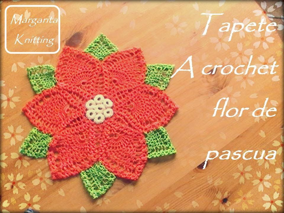 Tapete en forma de flor de pascua a crochet (diestro) | Angala ...