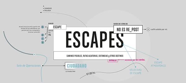 """Escapes - Esquemática by Willie Zapiola (Buenos Aires, Argentina)  Sistema de 3 piezas de 400mm x 900mm basado en """"La noche boca arriba"""" de Cortázar.  2011 Tipografía 2 Longinotti."""